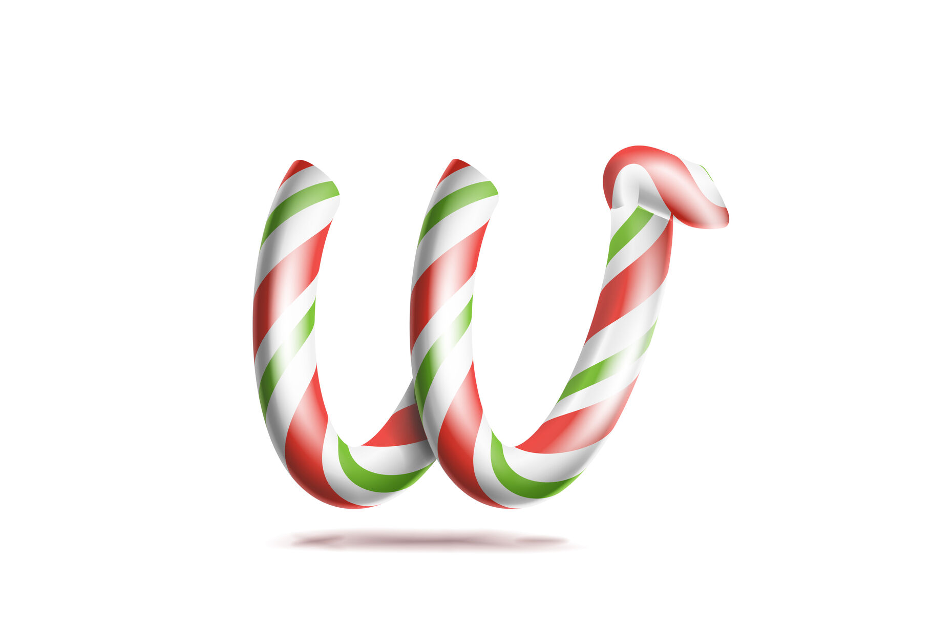 Letter W Vector 3d Realistic Candy Cane Alphabet Symbol In