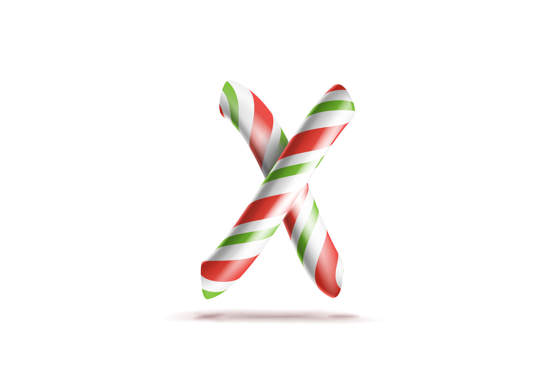 Letter X Vector 3d Realistic Candy Cane Alphabet Symbol In