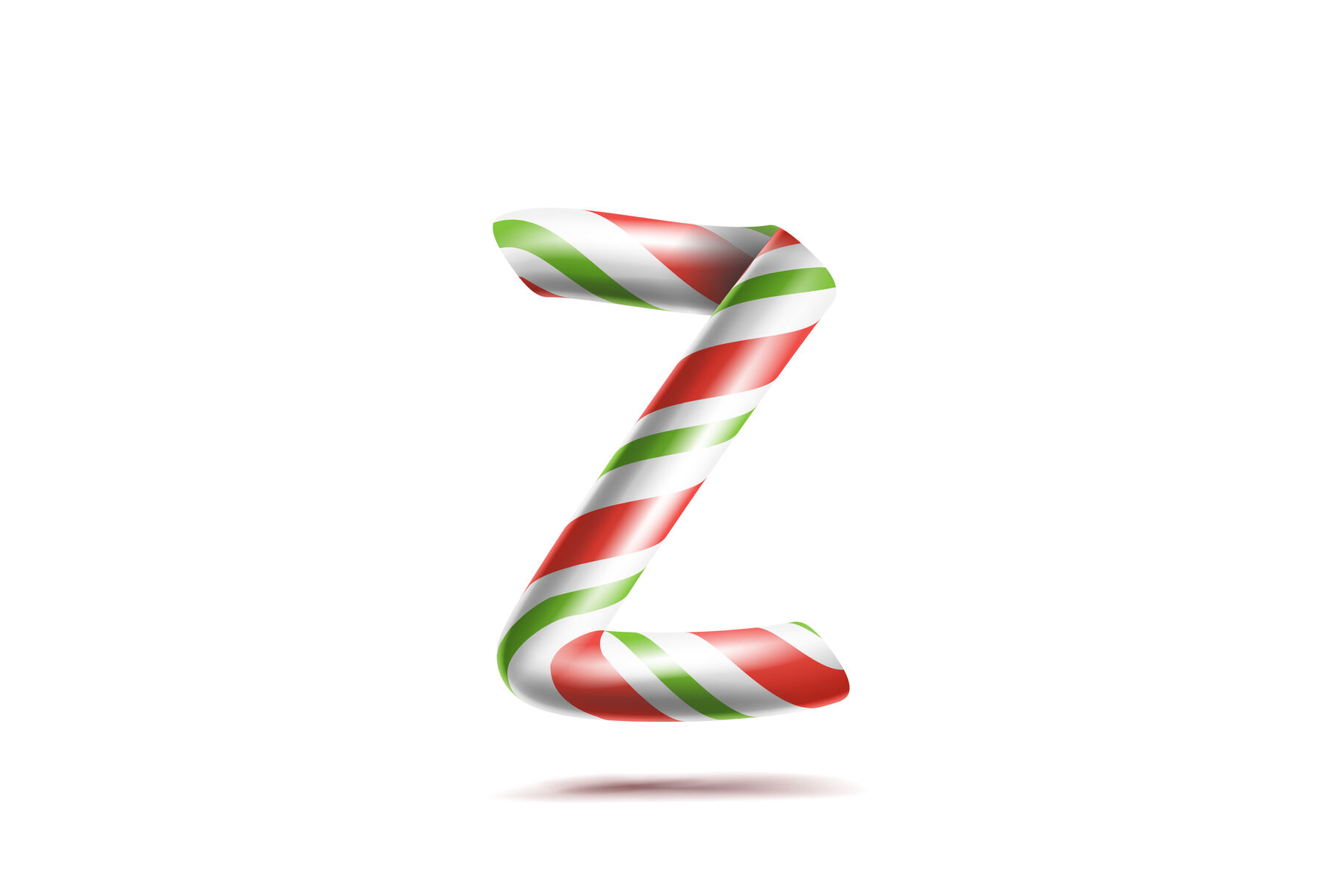 Letter Z Vector 3d Realistic Candy Cane Alphabet Symbol In