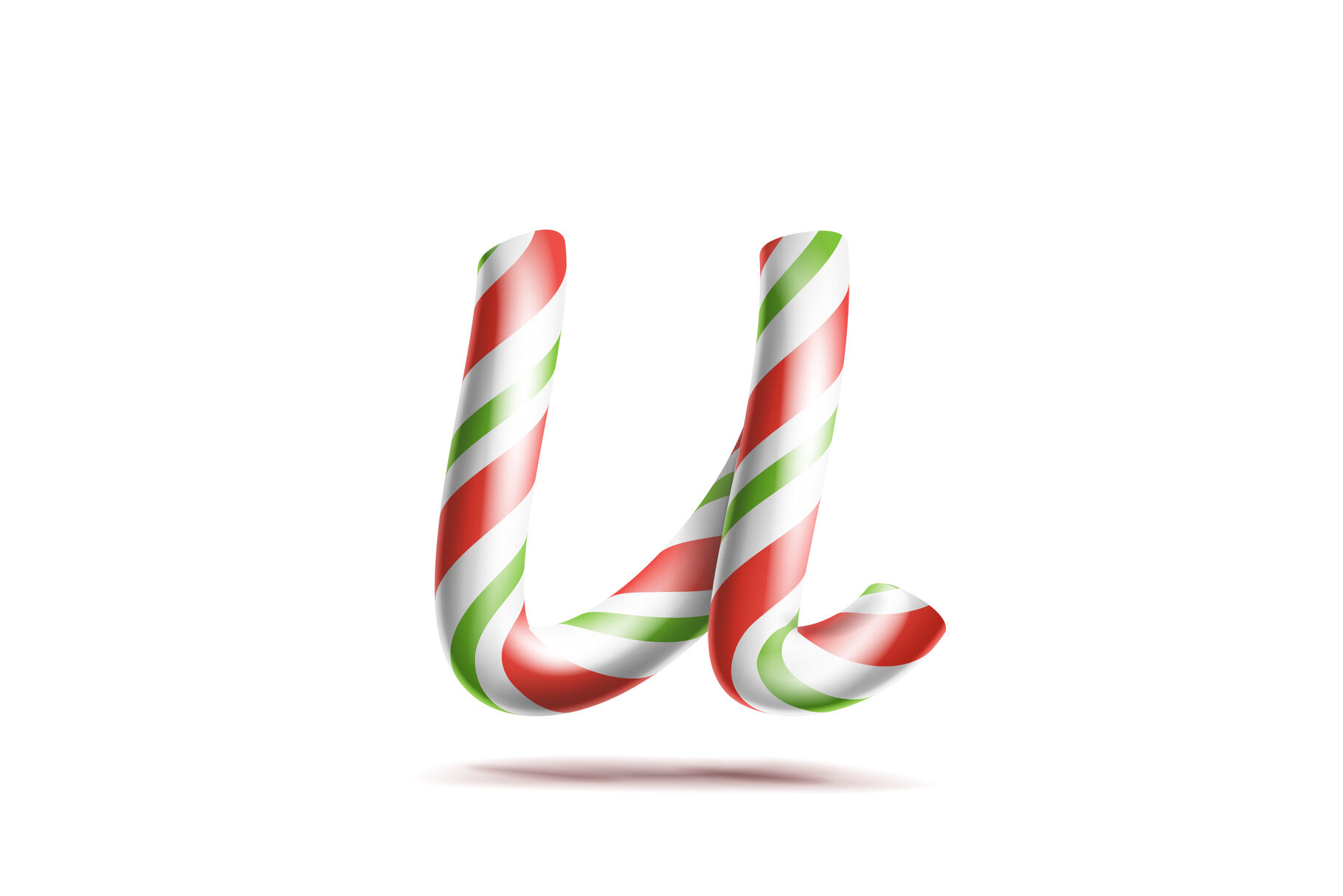 Letter U Vector 3d Realistic Candy Cane Alphabet Symbol In