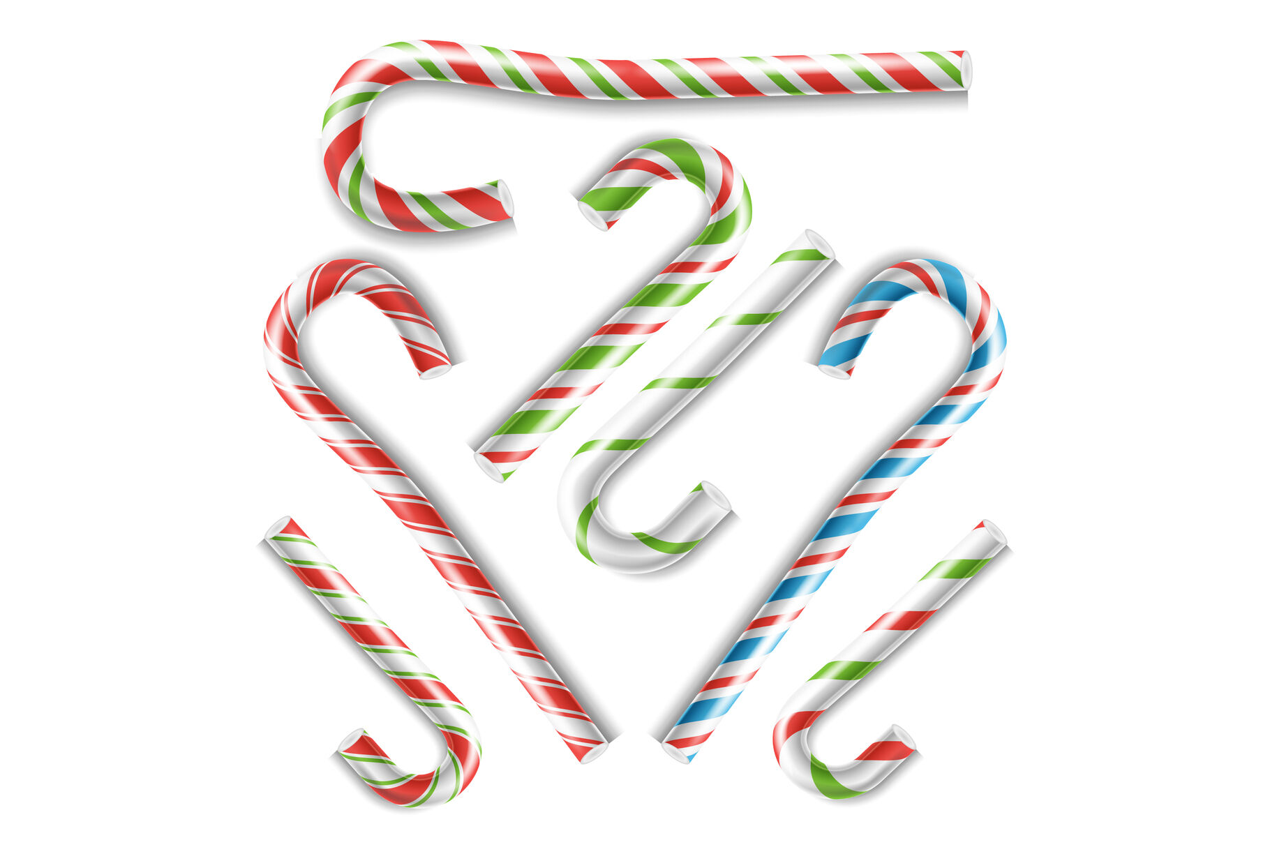 Classic Xmas Candy Cane Vector Isolated On White Illustration By