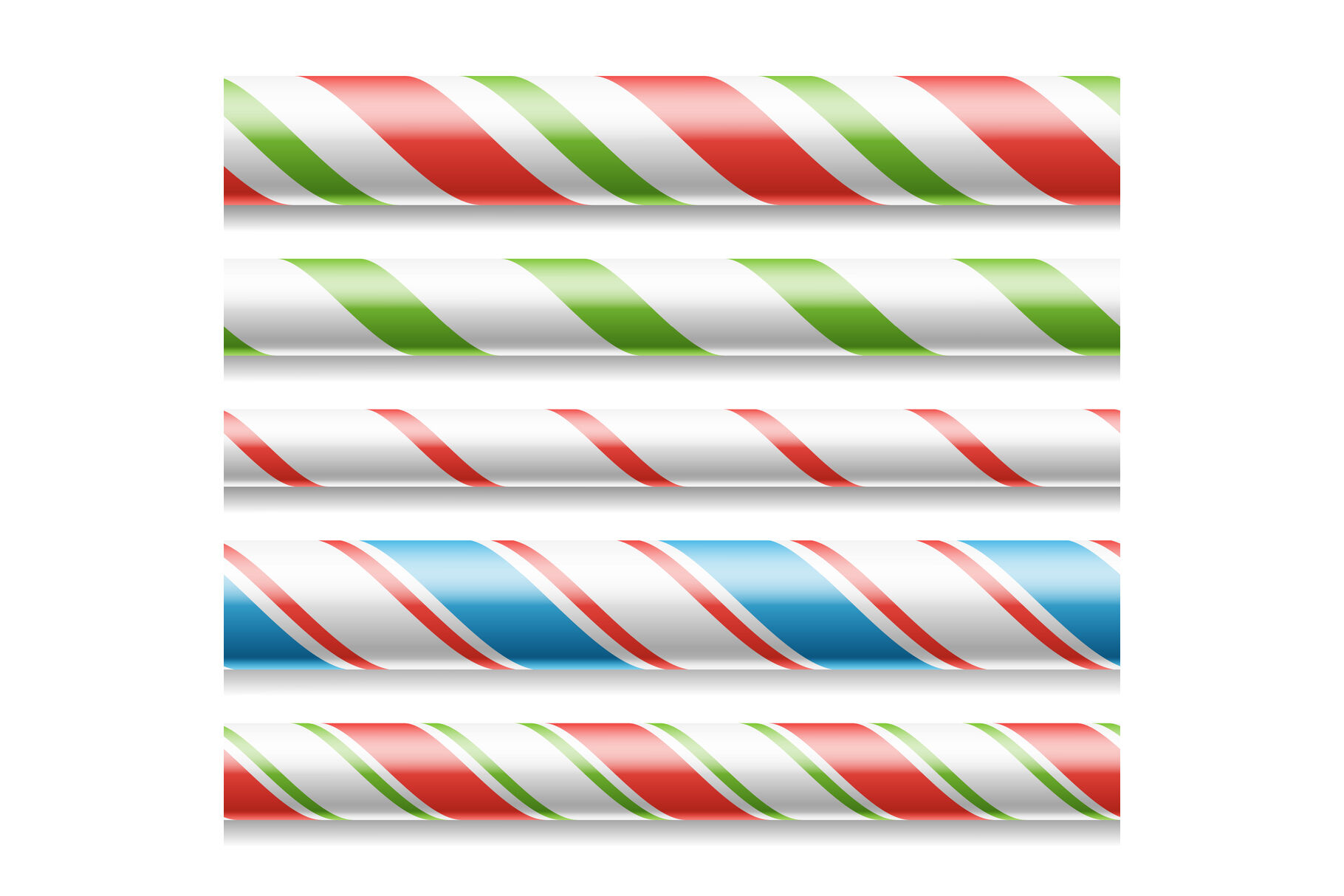 Xmas Candy Cane Vector Horizontal Seamless Pattern Isolated On
