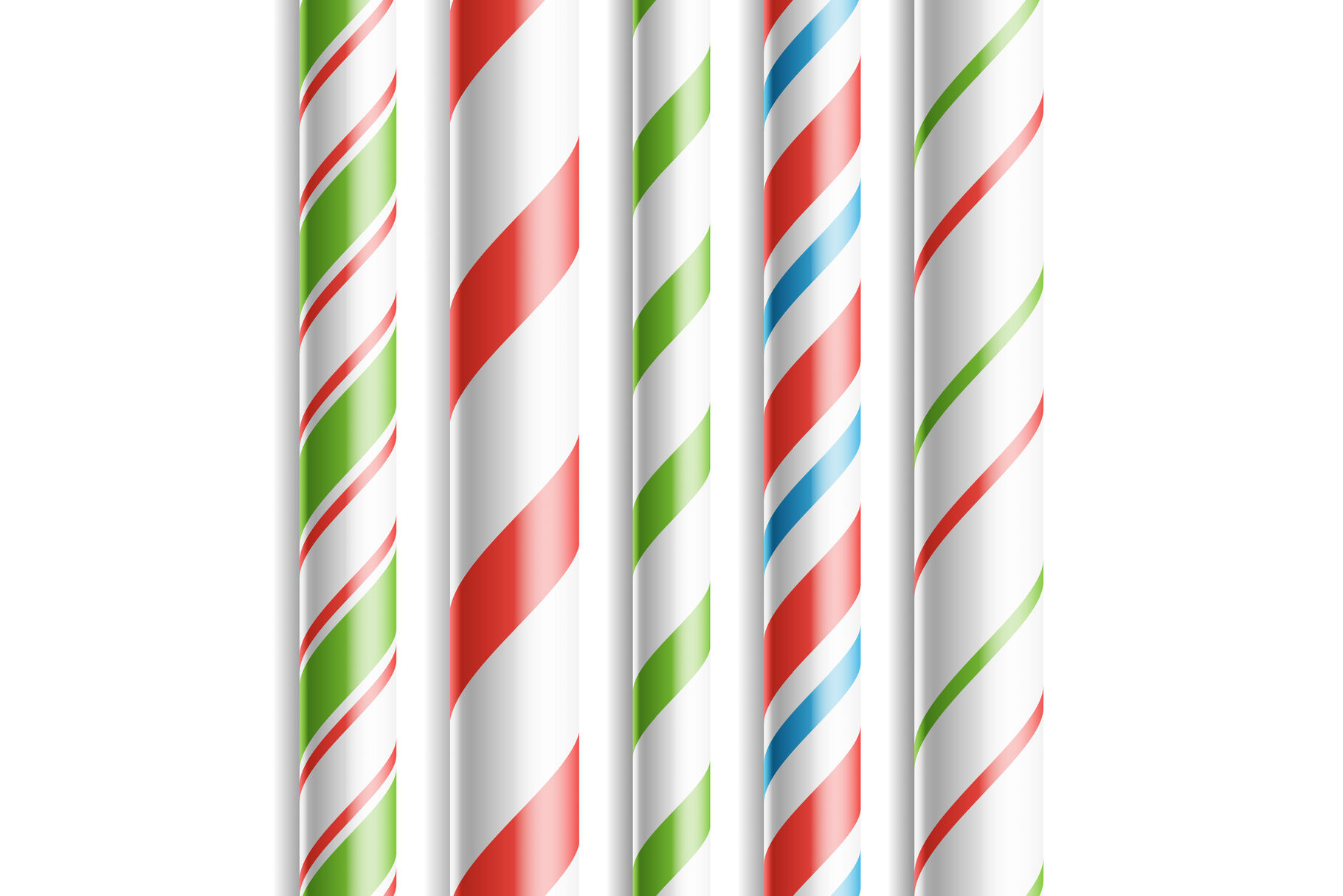 Christmas Candy Cane Vector Horizontal Seamless Pattern Isolated