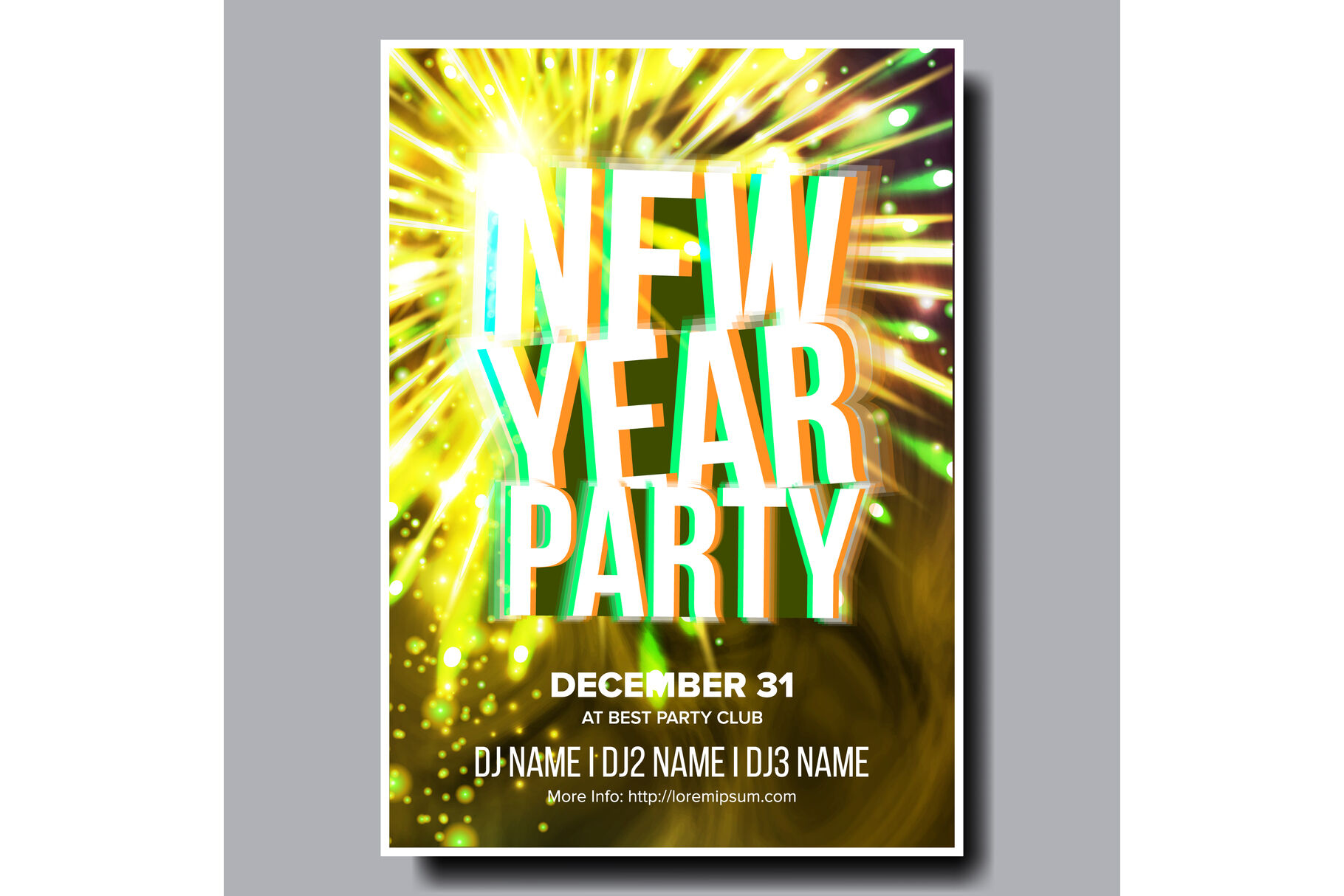 2020 Christmas Party Flyer Poster Vector Happy New Year Music