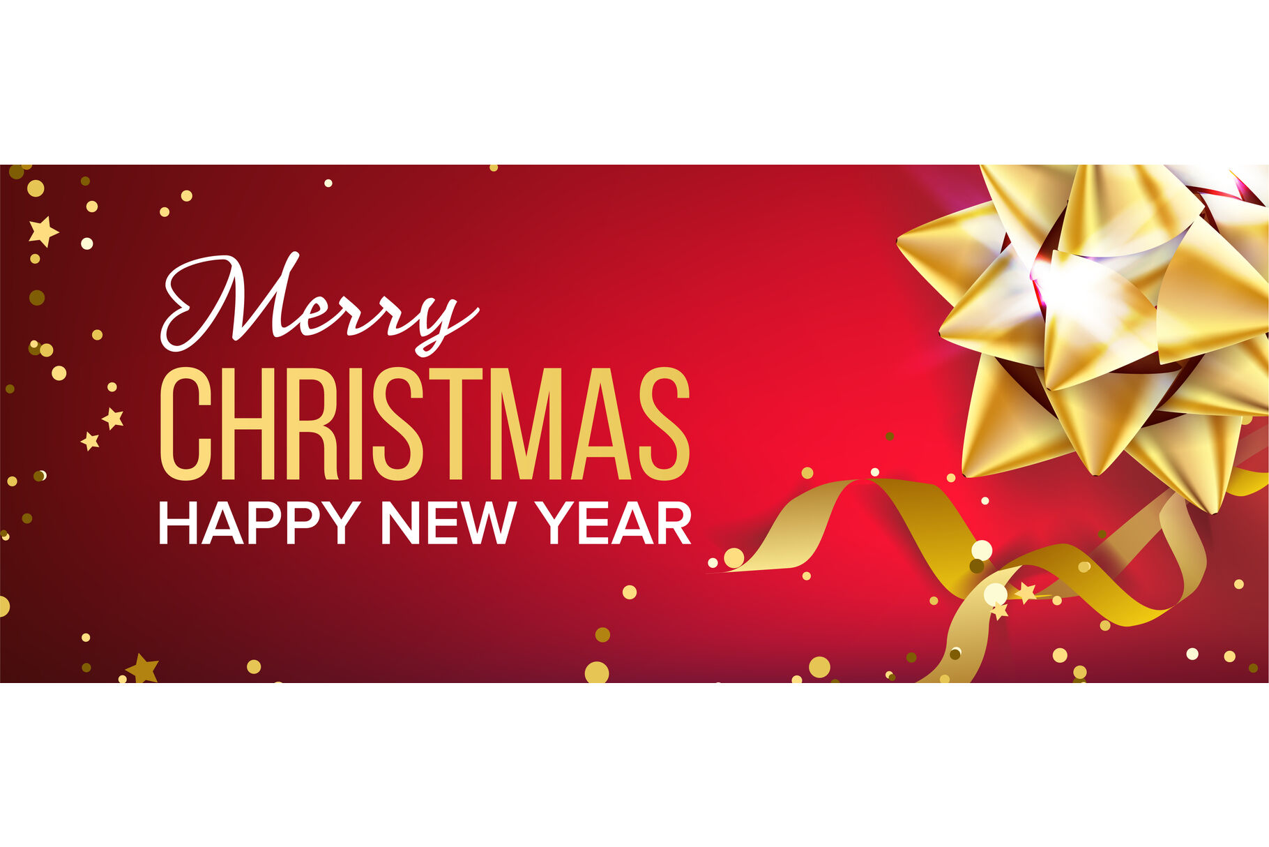 merry christmas and happy new year banner vector gold bow red background illustration by pikepicture thehungryjpeg com the hungry jpeg