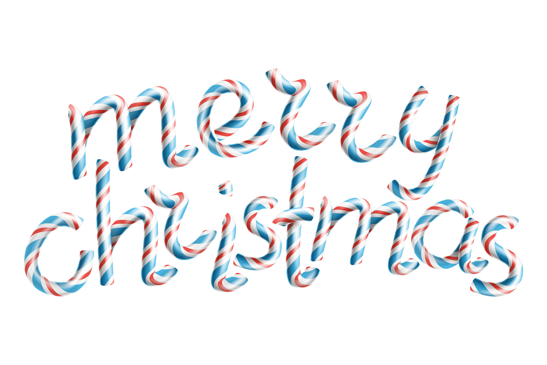 Merry Christmas Vector 3d Sign In Christmas Colours Classic Xmas