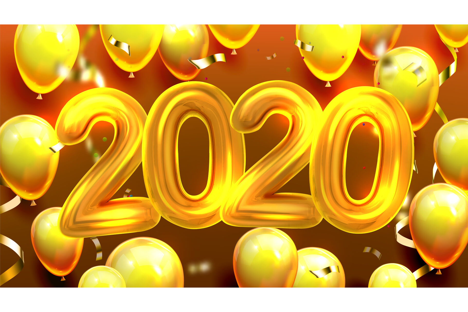 2020 Decorated Balloons Banner Vector By Pikepicture