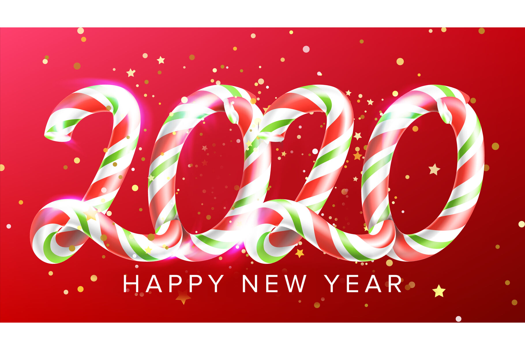 Candy In Form 2020 Happy New Year Banner Vector By Pikepicture