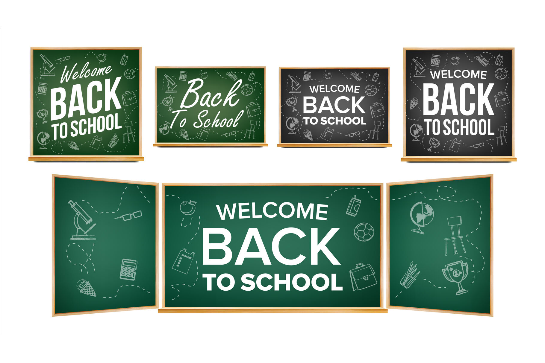 Back To School Banner Design Vector Classroom Chalkboard Blackboard Doodle Icons Sale Background Welcome 1 September Education Related Realistic Illustration By Pikepicture Thehungryjpeg Com