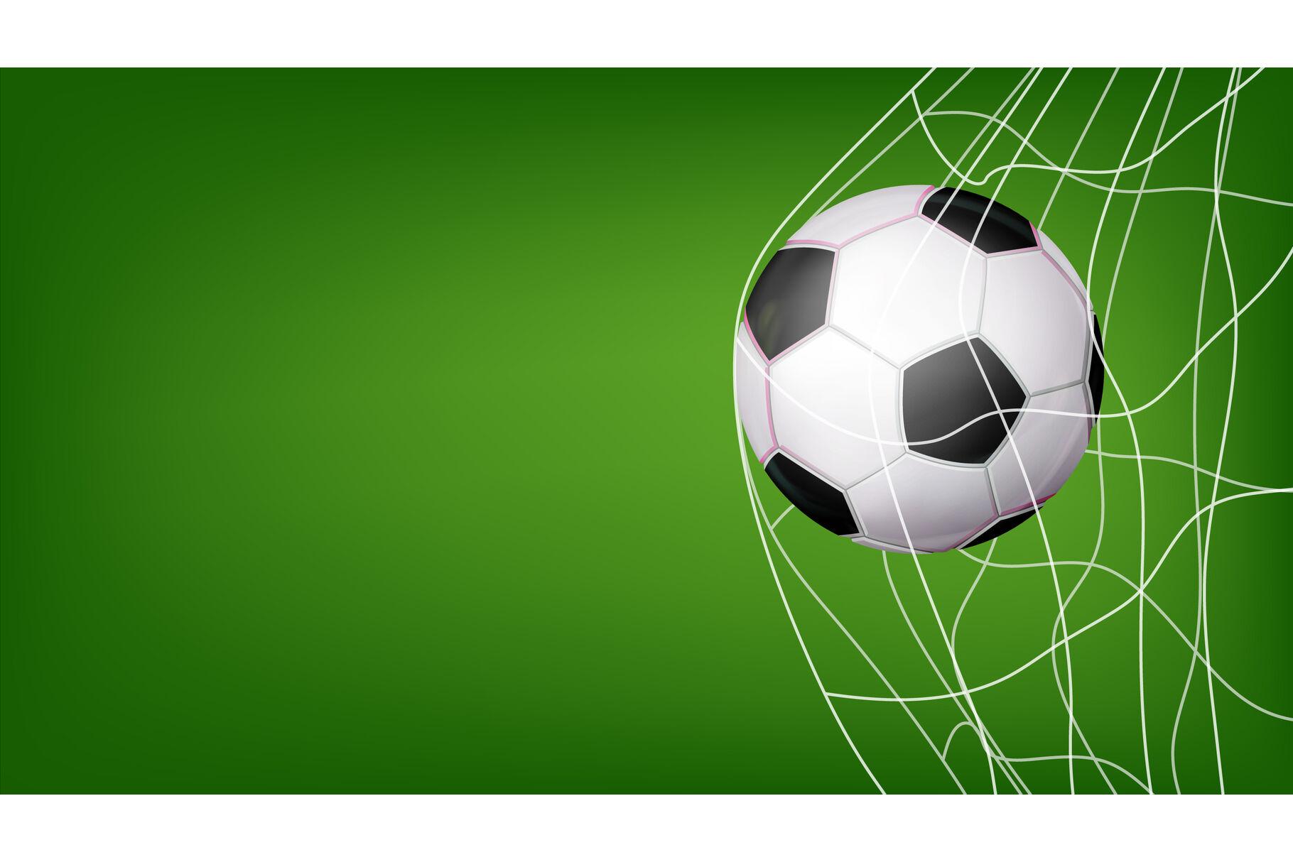 soccer ball in net vector hitting goal invitation sport