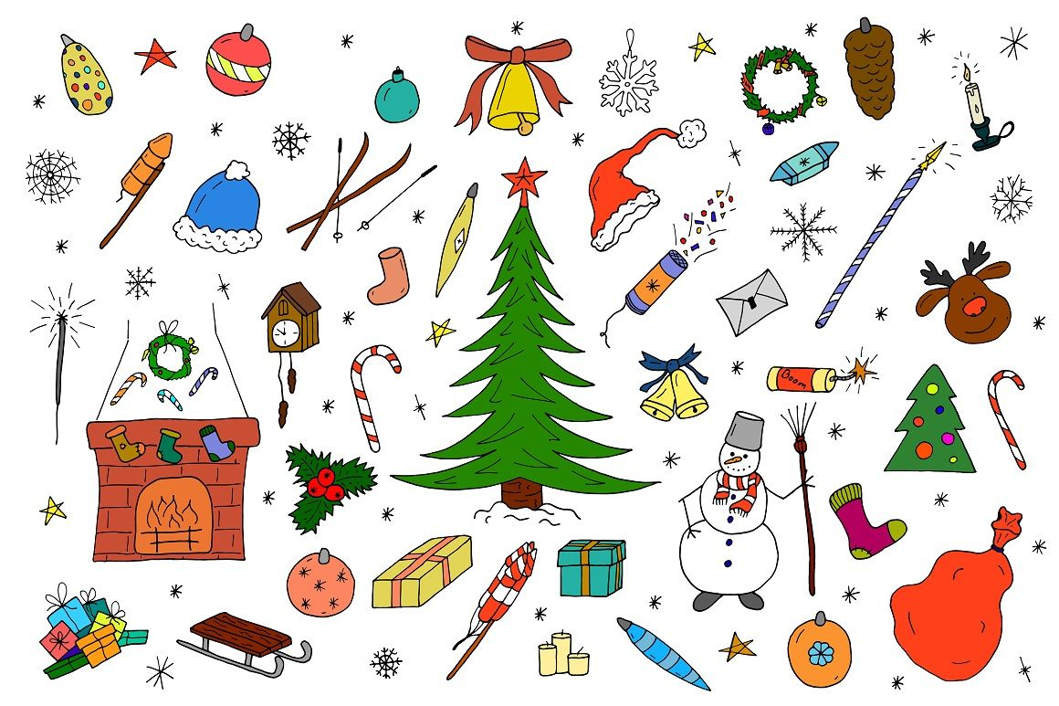 Color Christmas Doodle Elements By Expressshop Thehungryjpeg Com