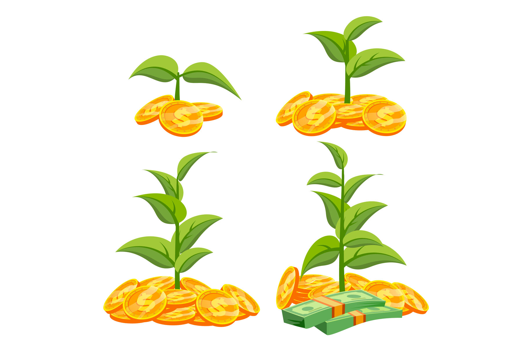 Startup Growth Concept Vector Tree Growing On A Golden Coins Growth Funds Economy Concept Success Project Isolated Flat Cartoon Illustration By Pikepicture Thehungryjpeg Com Learn how to draw this simple tree illustration about cartoon tree icon , vector drawing. startup growth concept vector tree