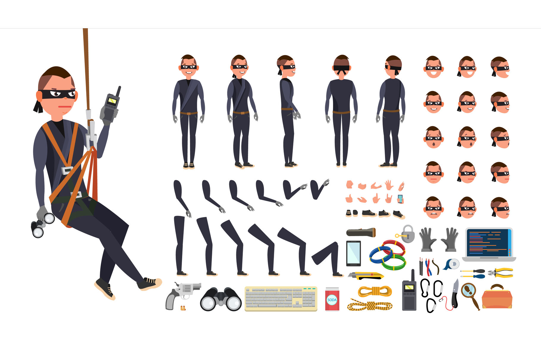 Thief Hacker Vector Animated Character Creation Set Black Mask Tools And Equipment Full Length Front Side Back View Accessories Poses Face Emotions Gestures Isolated Flat Illustration By Pikepicture Thehungryjpeg Com