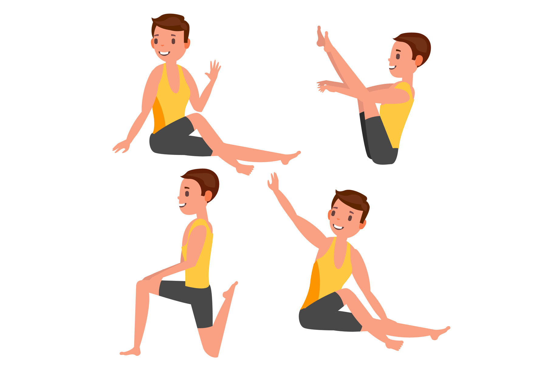 Yoga Male Vector Stretching And Twisting Practicing Playing In Different Poses Man Isolated On White Cartoon Character Illustration By Pikepicture Thehungryjpeg Com