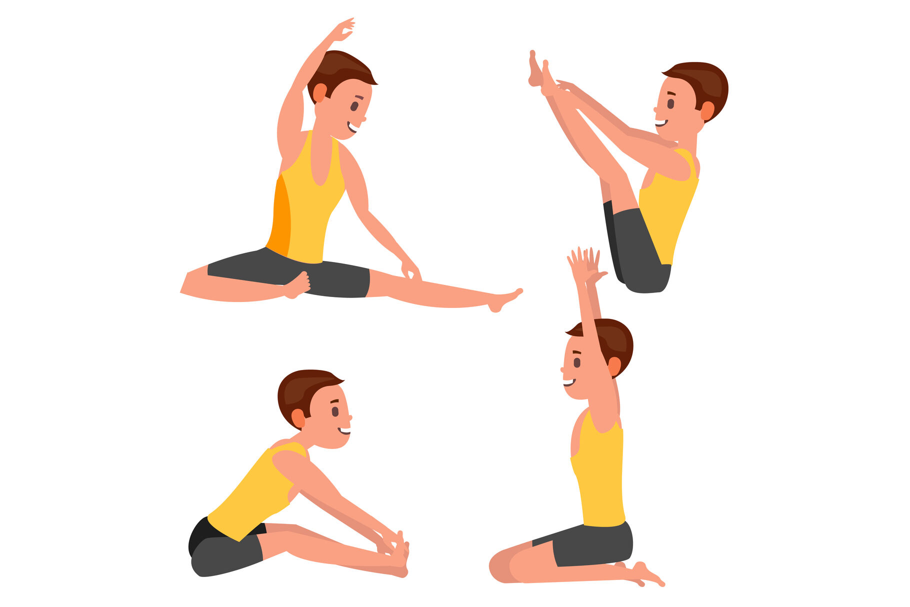 Yoga Male Vector In Action Meditation Positions Flexible Girl Cartoon Character Illustration By Pikepicture Thehungryjpeg Com