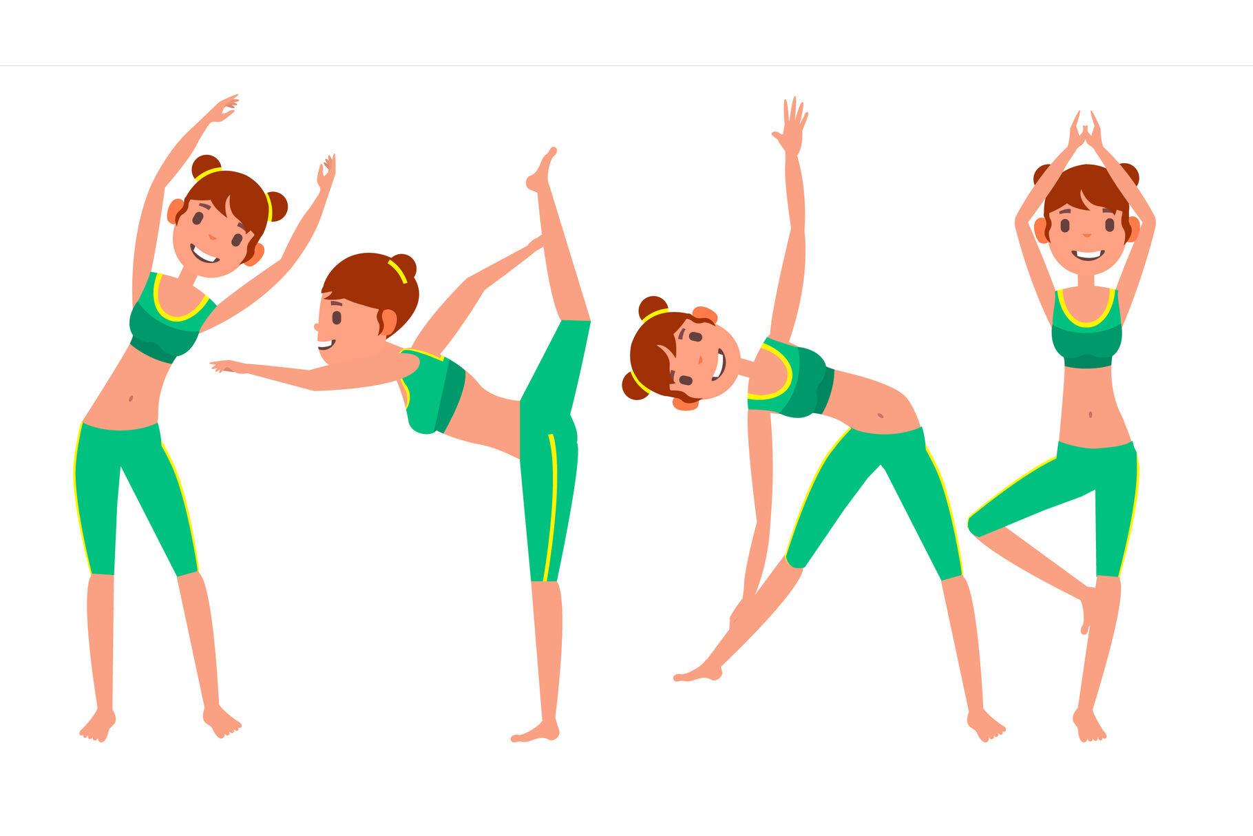 Yoga Woman Poses Set Vector Girl Yoga Poses Doing Yoga Workout Flat Cartoon Illustration By Pikepicture Thehungryjpeg Com