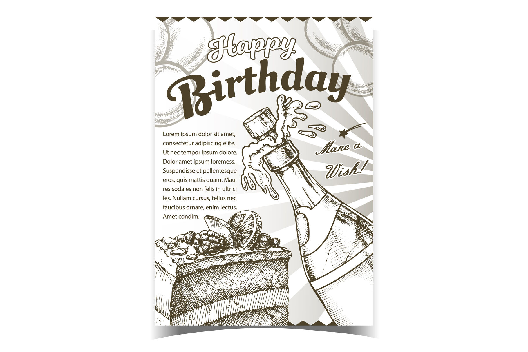 Happy Birthday Celebrate Advertising Poster Vector By Pikepicture
