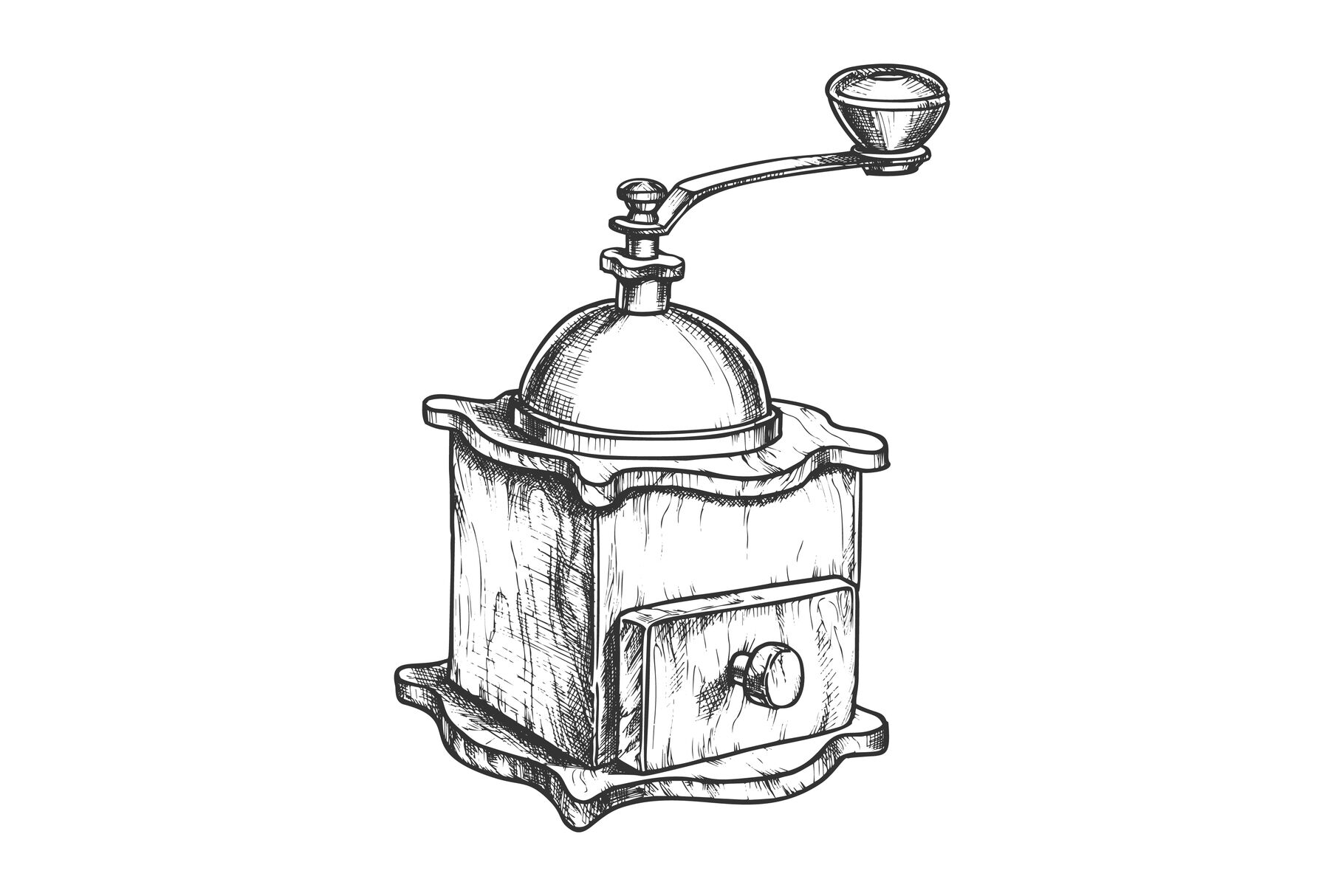 Ancient Manual Coffee Grinder Monochrome Vector By Pikepicture