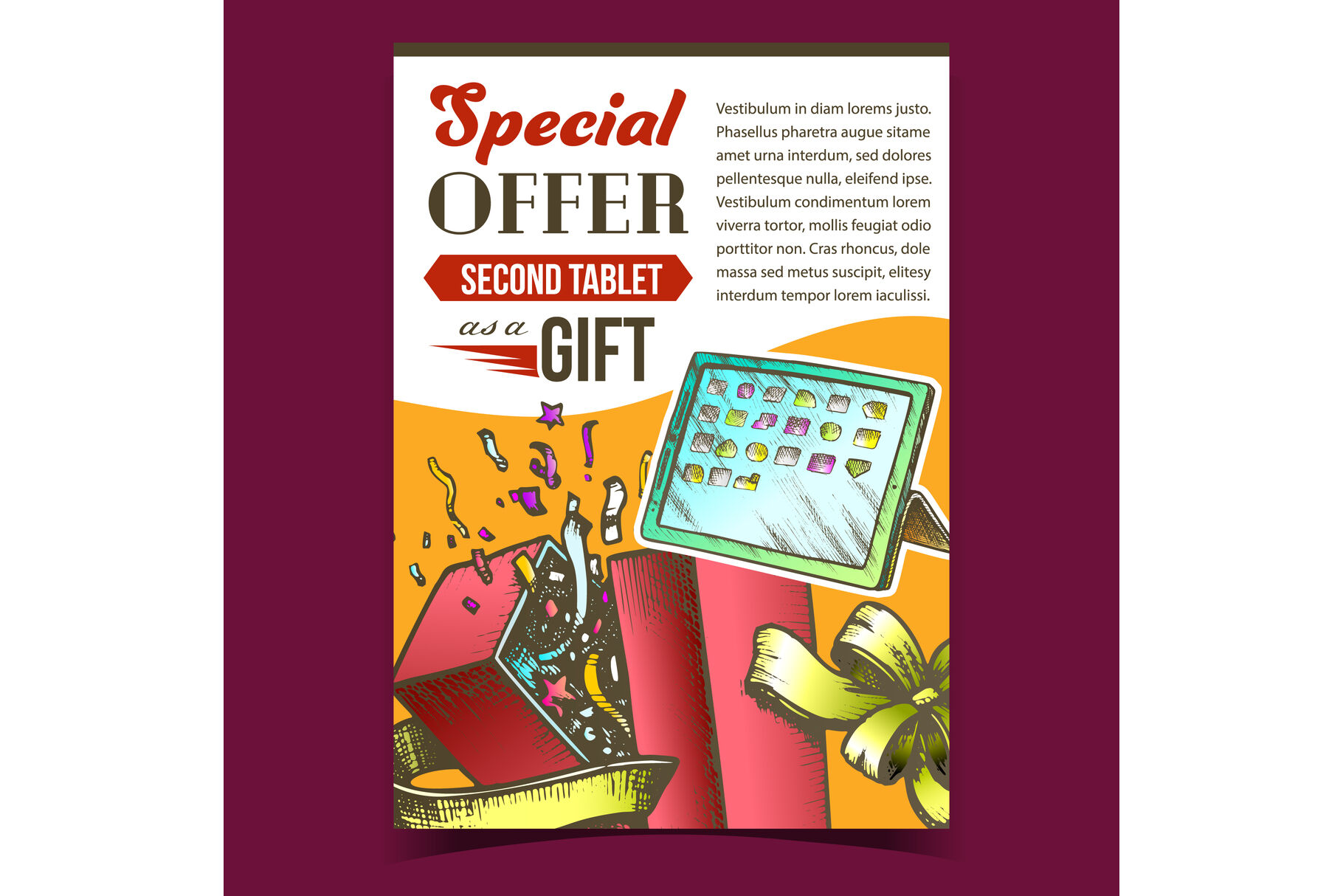 Special Offer Gift Box Advertise Poster Vector By Pikepicture Thehungryjpeg Com