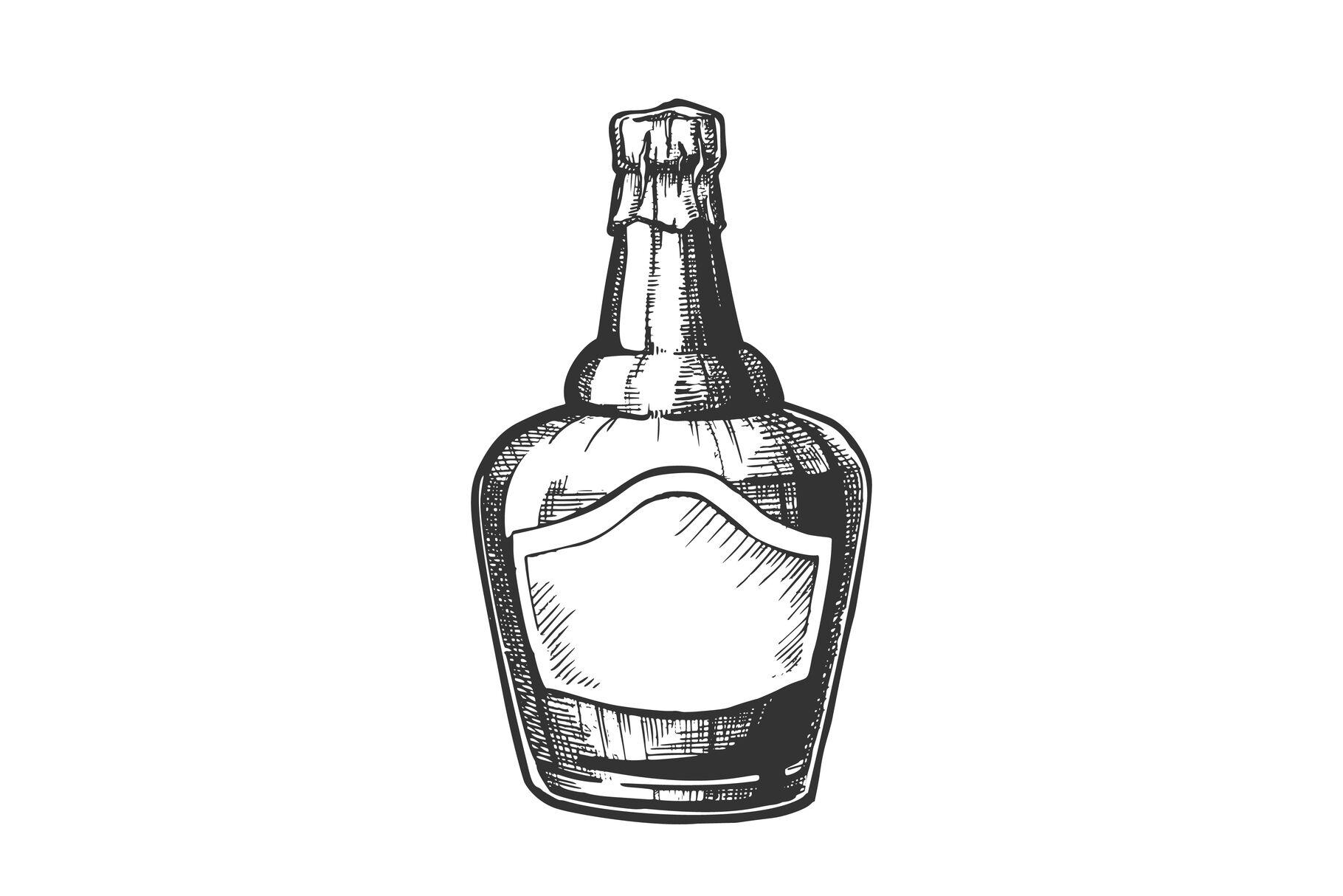 700ml Blue Glass Bottle Mockup