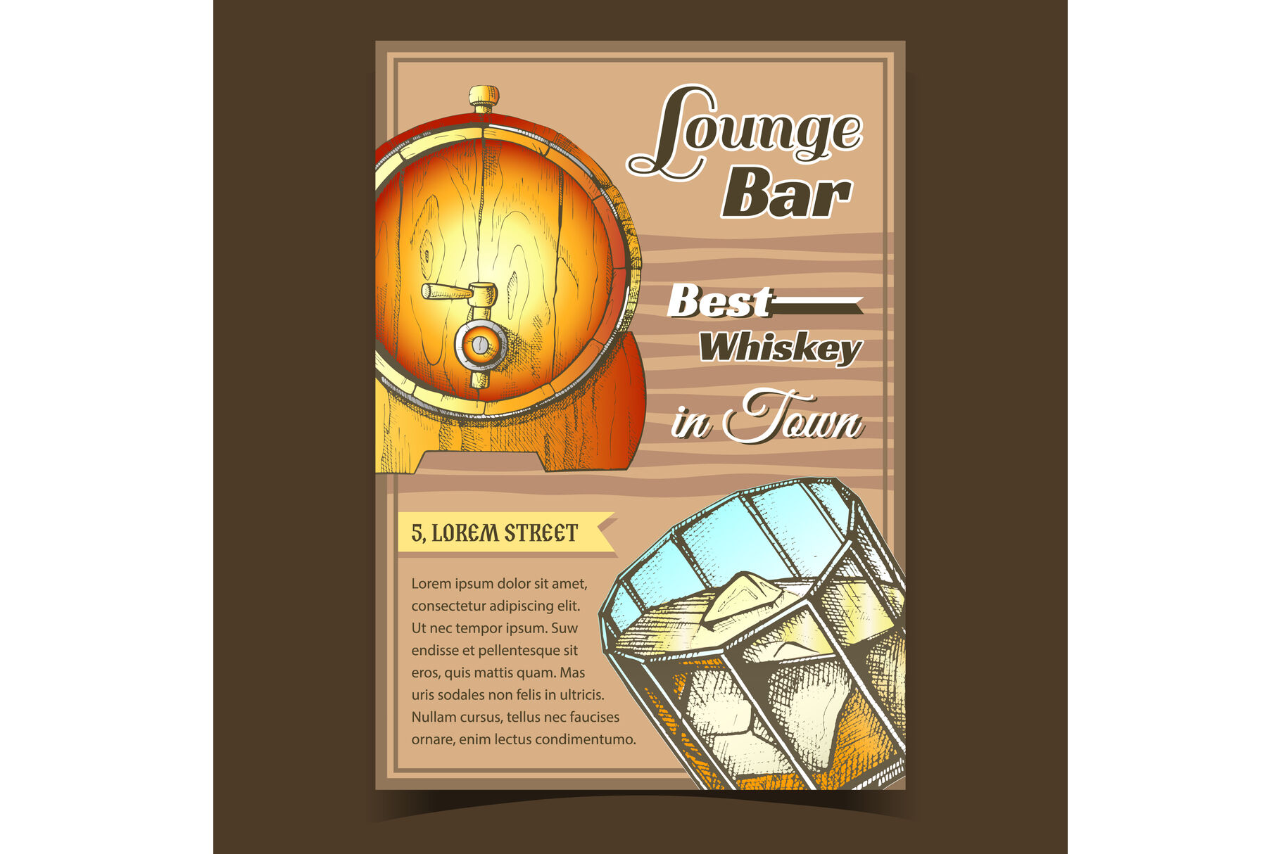 Whiskey Lounge Bar Best In Town Poster Vector By Pikepicture Thehungryjpeg Com
