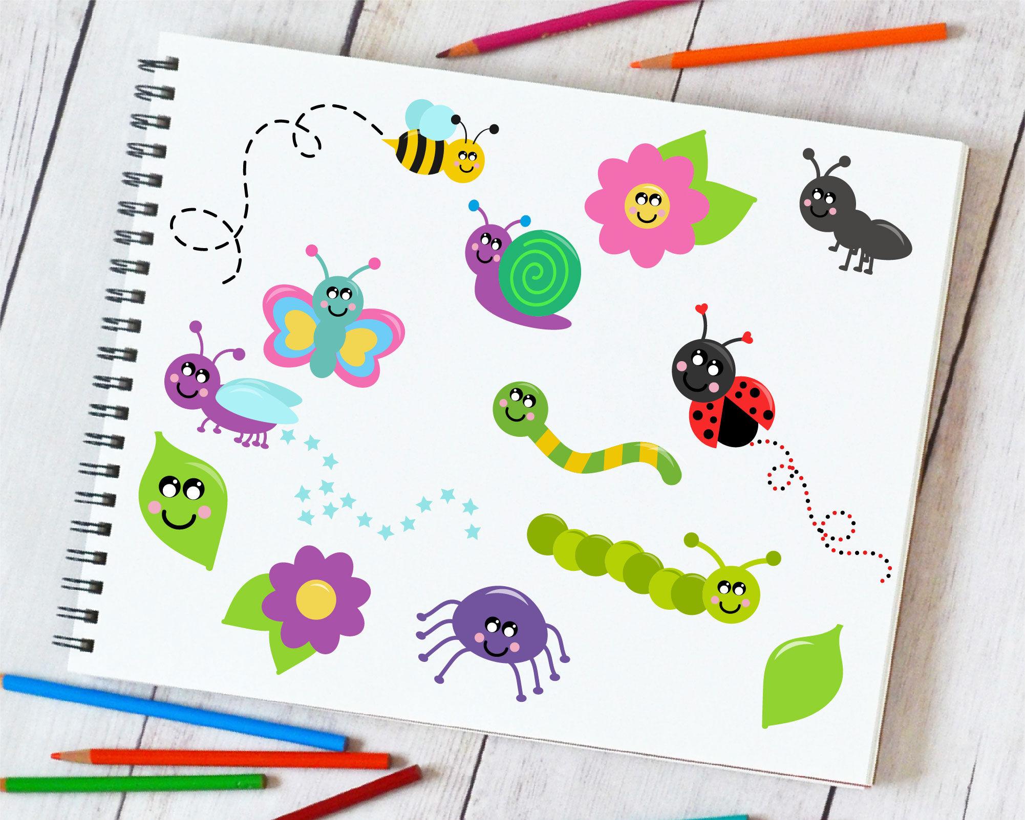 Bugs Clipart Ladybug Clip Art Butterfly Digital Art By Crafty