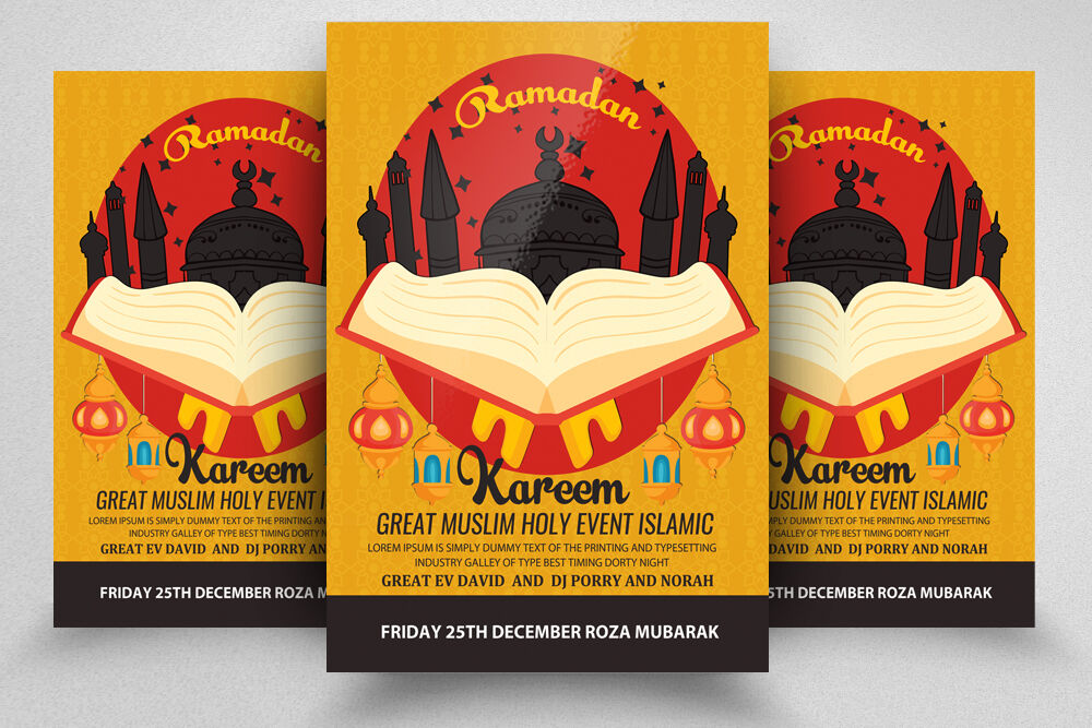 Ramadan Kareem Flyer Poster By Designhub Thehungryjpeg Com