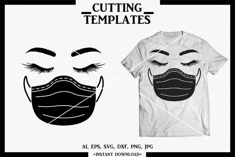Quarantine Face Surgical Mask Silhouette Cricut Cameo Svg