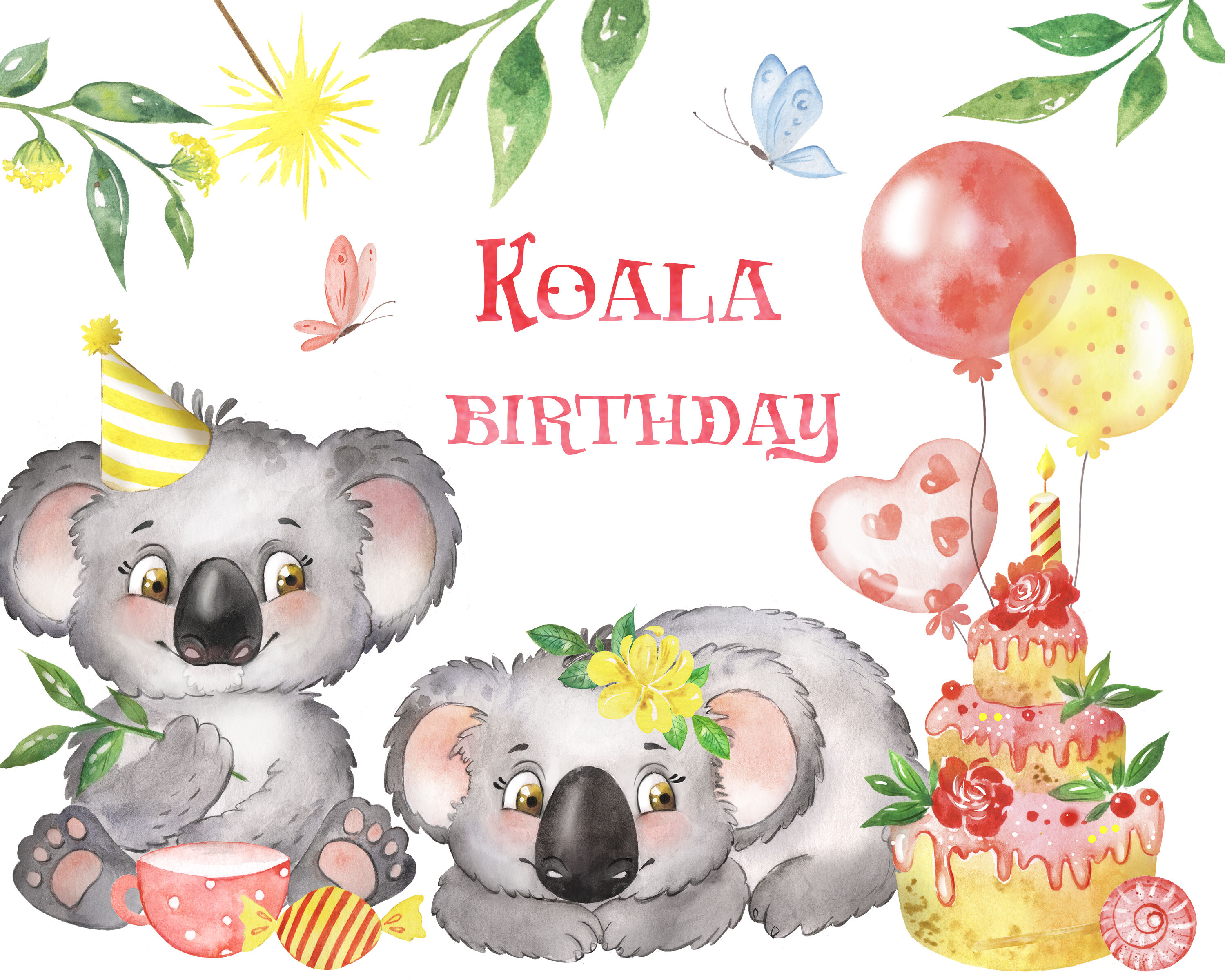 Magnificent Koala Watercolor Clipart With Koalas Birthday Clipart Cake Funny Birthday Cards Online Bapapcheapnameinfo