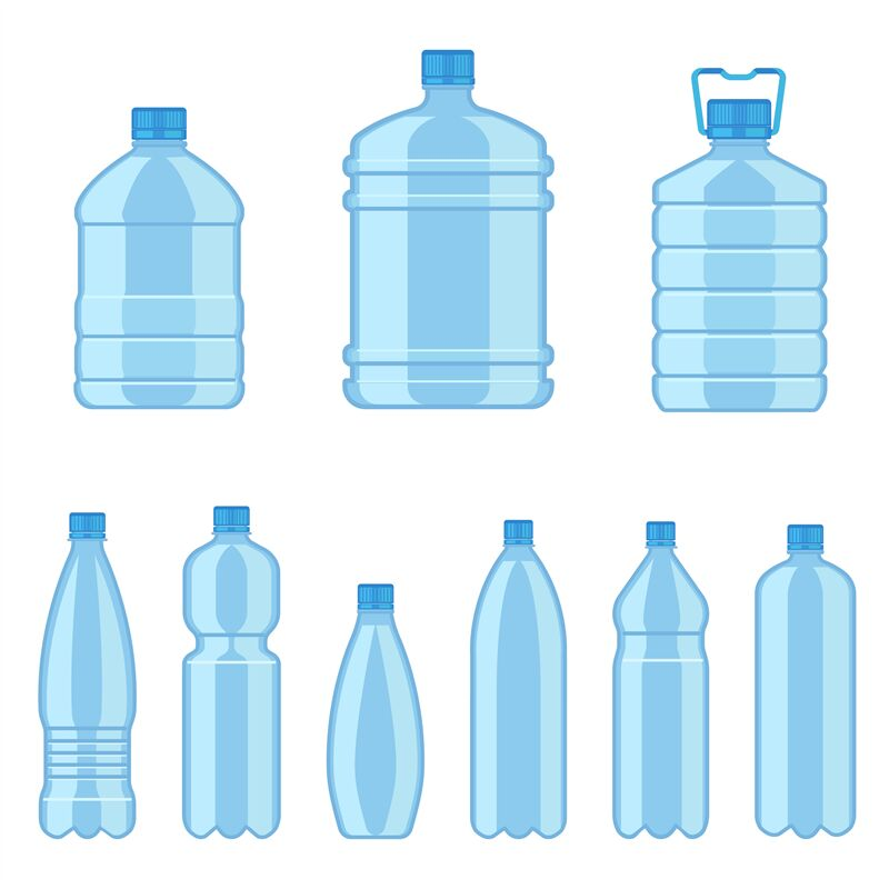 Plastic water bottles. Flat containers different capacities for ...