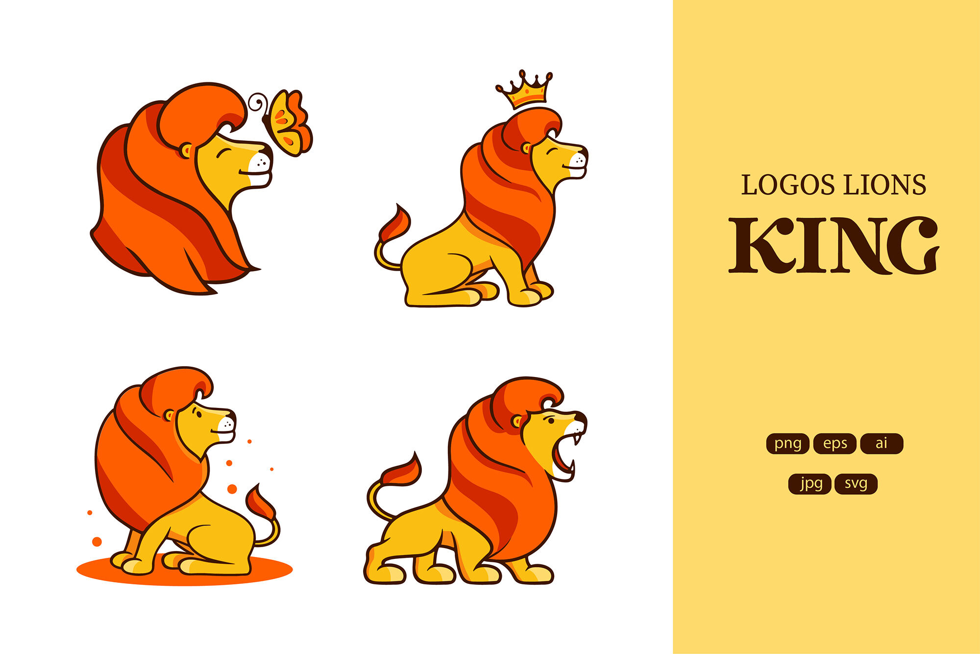 Set Of Logos Lion King By Lettering Logo Thehungryjpeg Com