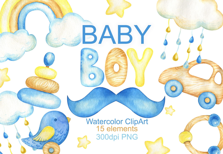 Watercolor Baby Boy Clipart Baby Shower Clip Art Invitation By Vilenaart Thehungryjpeg Com