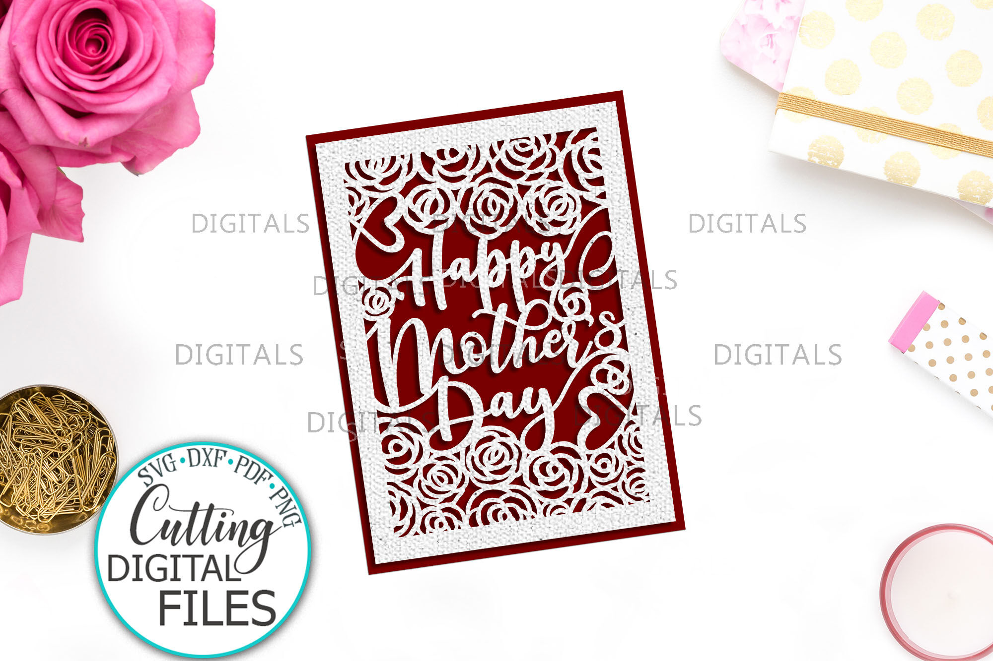 Happy Mother Day Card Papercut Laser Cut Template Svg Dxf By