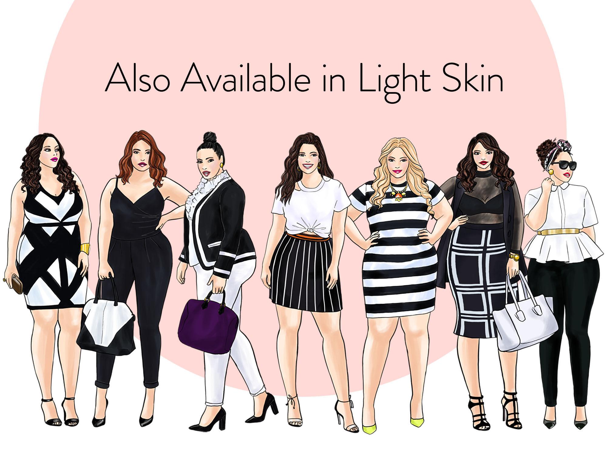 Watercolor Fashion Clipart Curvy Girls In Black White Dark Skin By Parinaz Wadia Design Thehungryjpeg Com