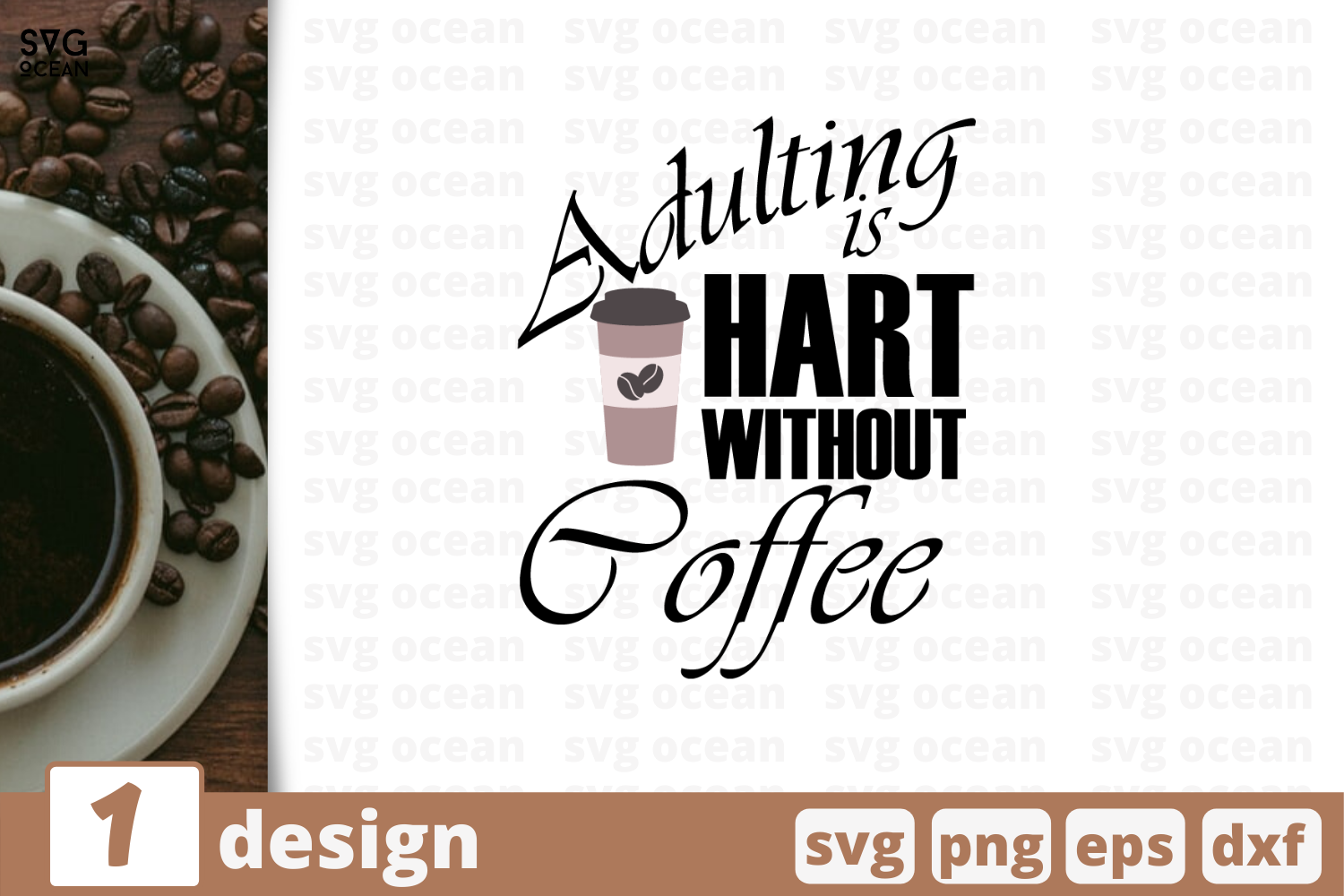 1 Adulting Is Hart Without Coffee Svg Bundle Quotes Cricut Svg By