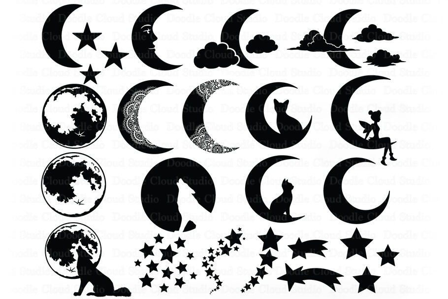 Moon Bundle Svg Cat And Moon Fairy Moon Svg Half Moon By