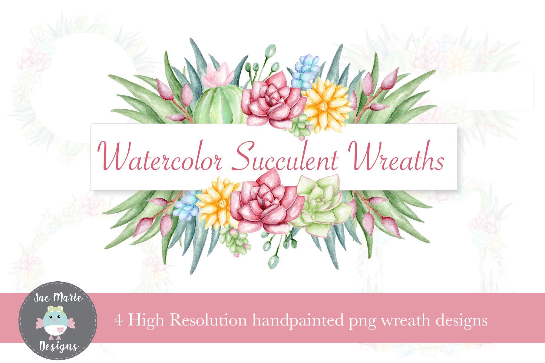 Succulent Wreath Set Watercolor Clipart By Jae Marie Digital Designs Thehungryjpeg Com