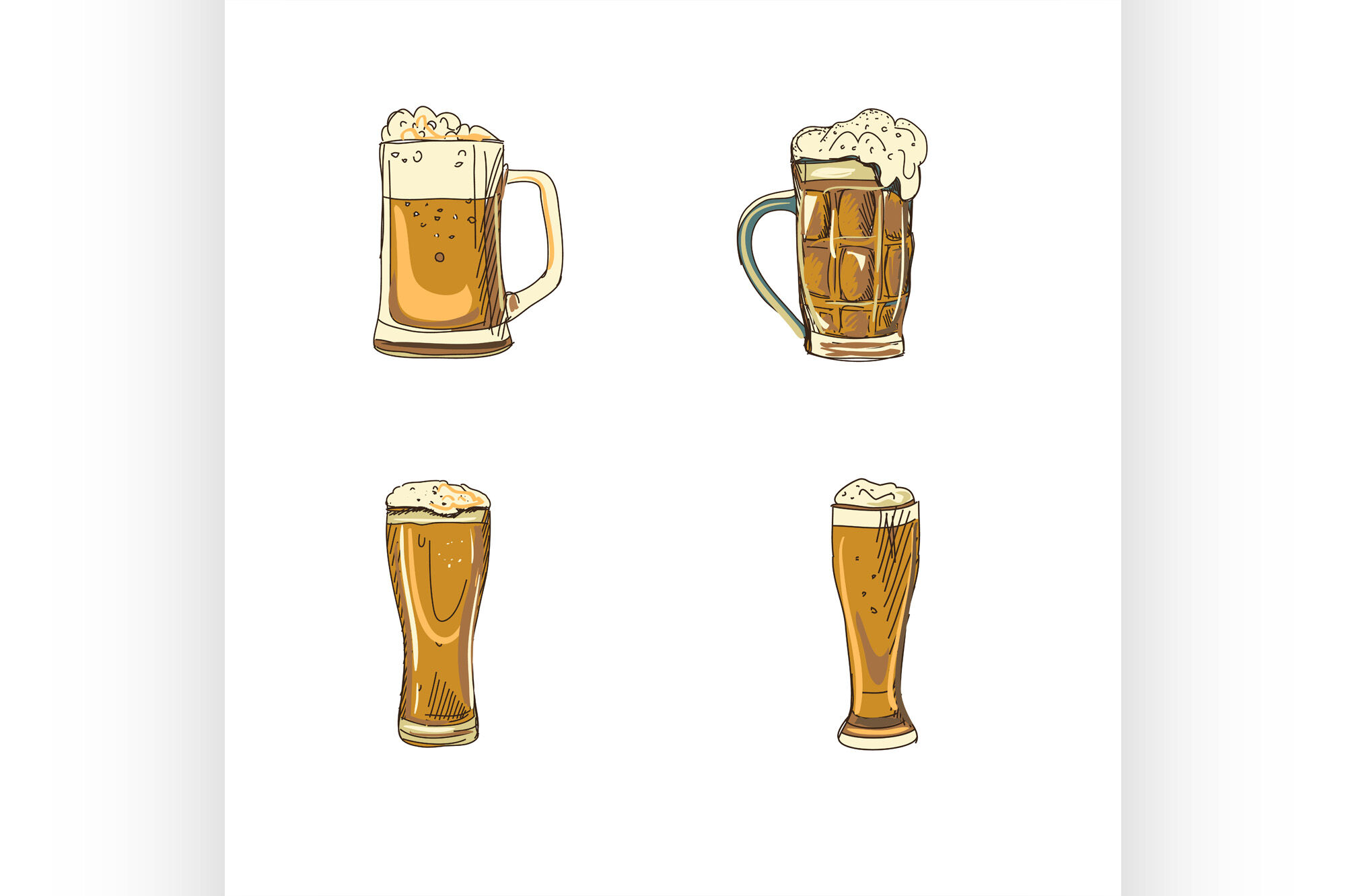 Doodle Beer Glasses By Netkoff Thehungryjpeg Com