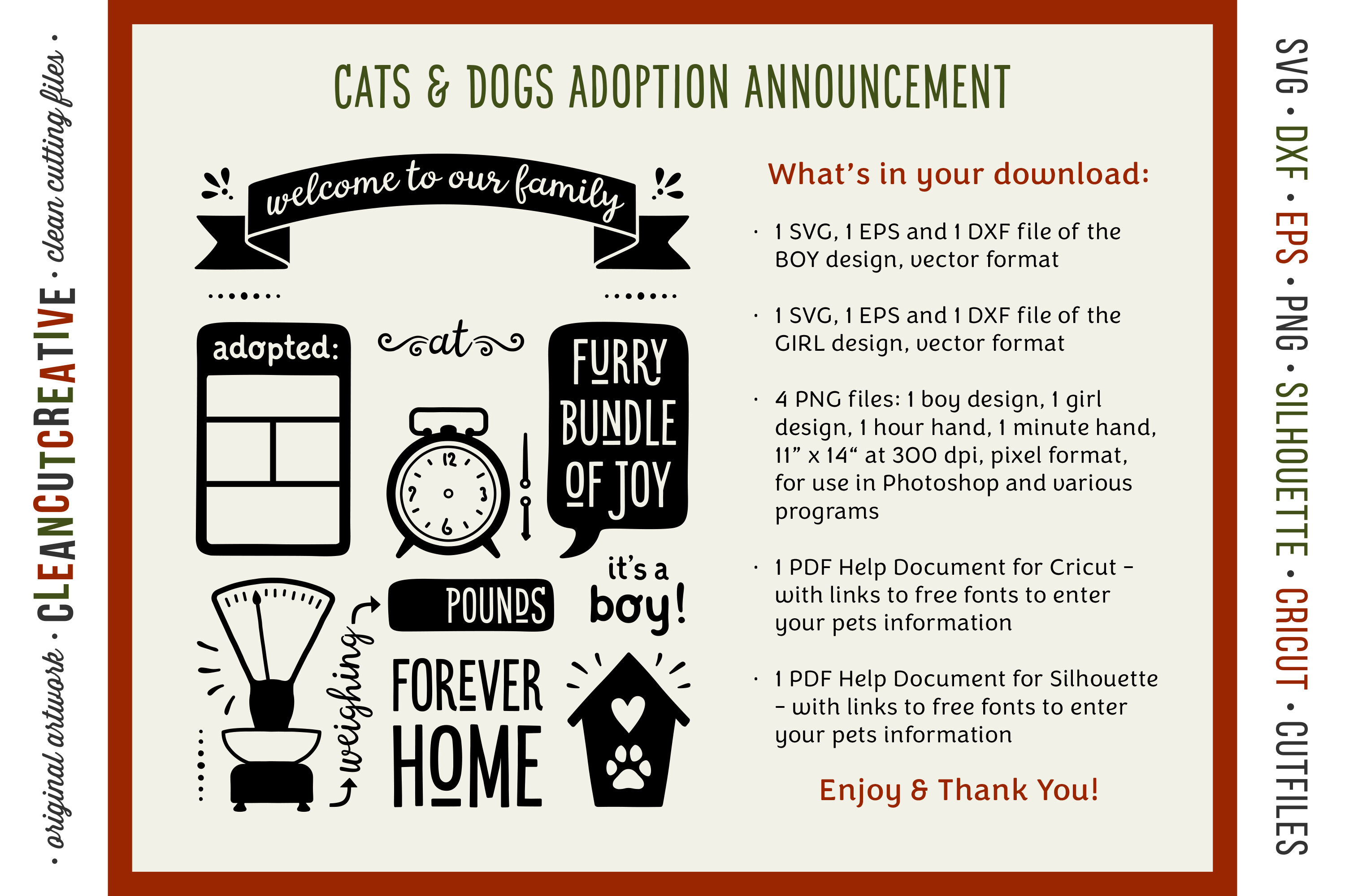 Dog Puppy Announcement Template Rescue Pet Cat Kitten Adoption Sign By Cleancutcreative Thehungryjpeg Com