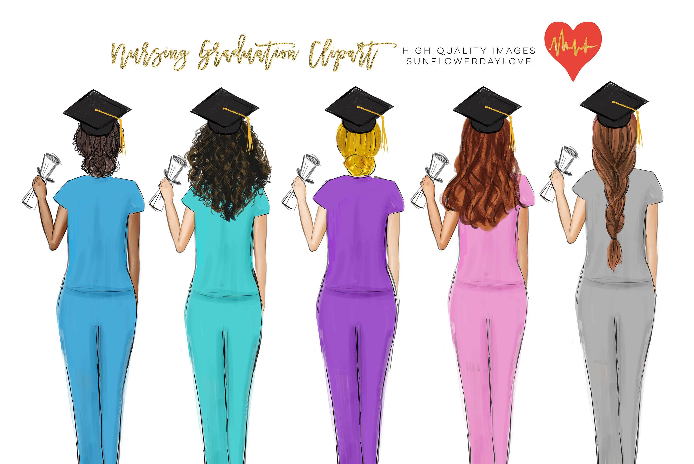 Graduation College Girl Clip Art Nurse Nursing Clipart Healthcare By Sunflower Day Love Thehungryjpeg Com