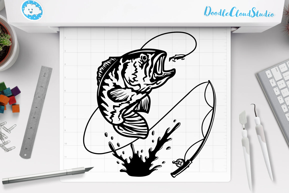 Download Fishing Svg Bass Fishing Svg Fish Trout Striped Bass Cut Files By Doodle Cloud Studio Thehungryjpeg Com