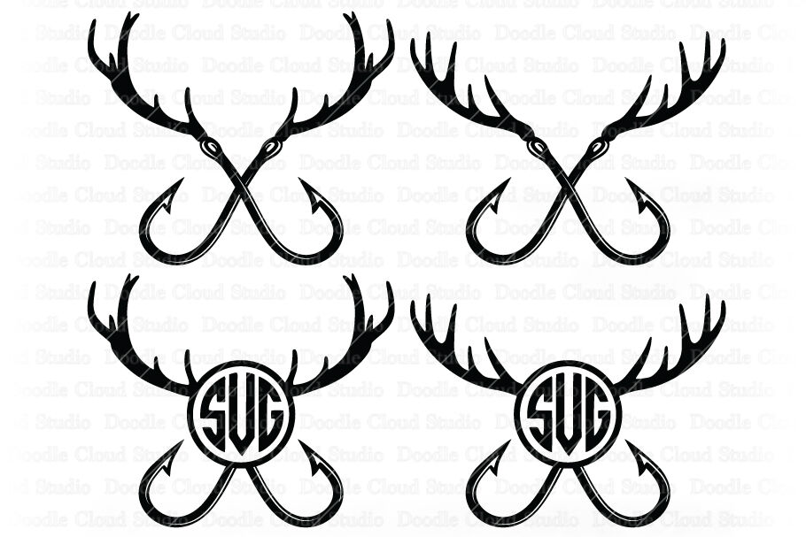 Download Fishing Hunting Svg Deer Horns And Hooks Svg By Doodle Cloud Studio Thehungryjpeg Com