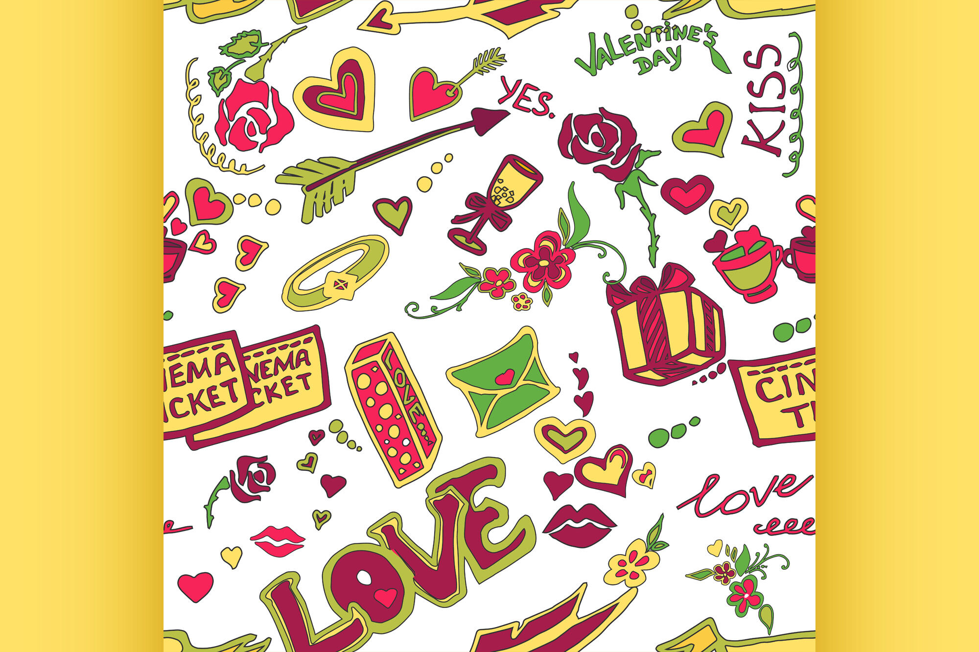 Colored Valentines Day Doodle Pattern By Netkoff Thehungryjpeg Com