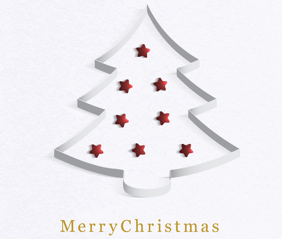Christmas Tree Made Of White Paper With A Red Star Vector