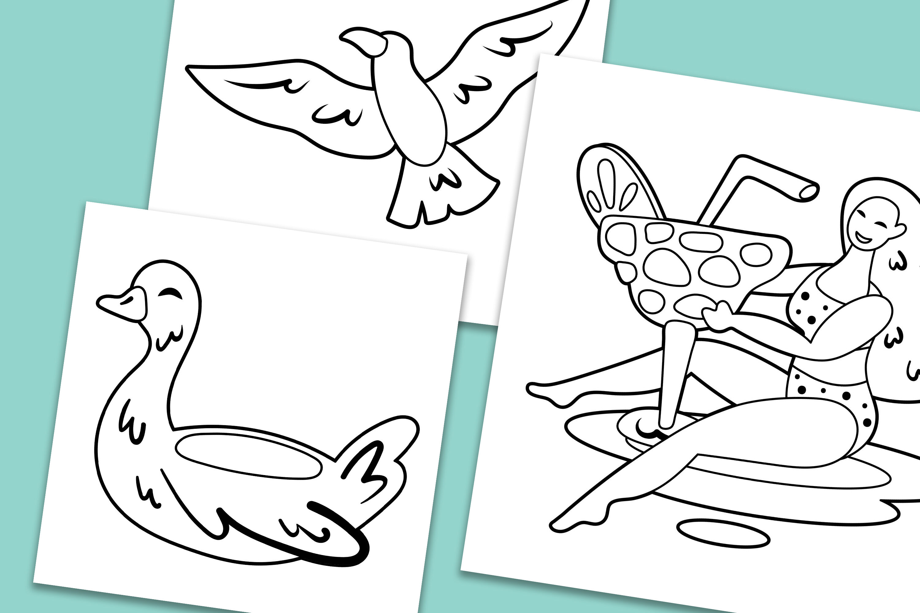 Summer Girls Clipart Digital Prints Stamps Coloring Page By Fox Biz Thehungryjpeg Com