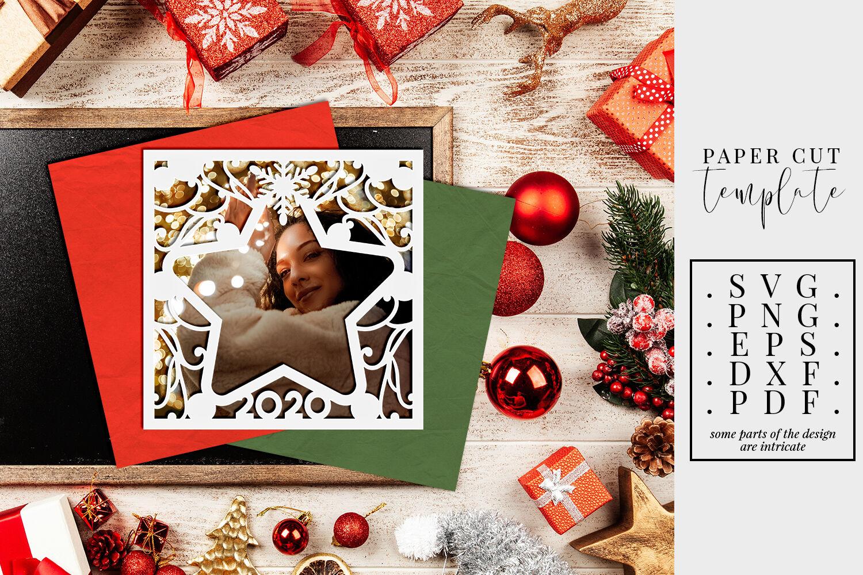 Christmas 2020 Frame Png Christmas 2020 Frame Paper Cut Template, Star Frame SVG, PDF, DXF