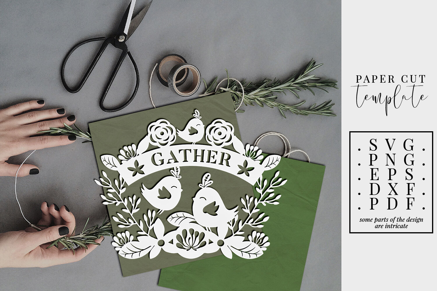 Gather Svg Cut File Autumn Papercut Template Dxf Eps Png By Personal Epiphany Thehungryjpeg Com