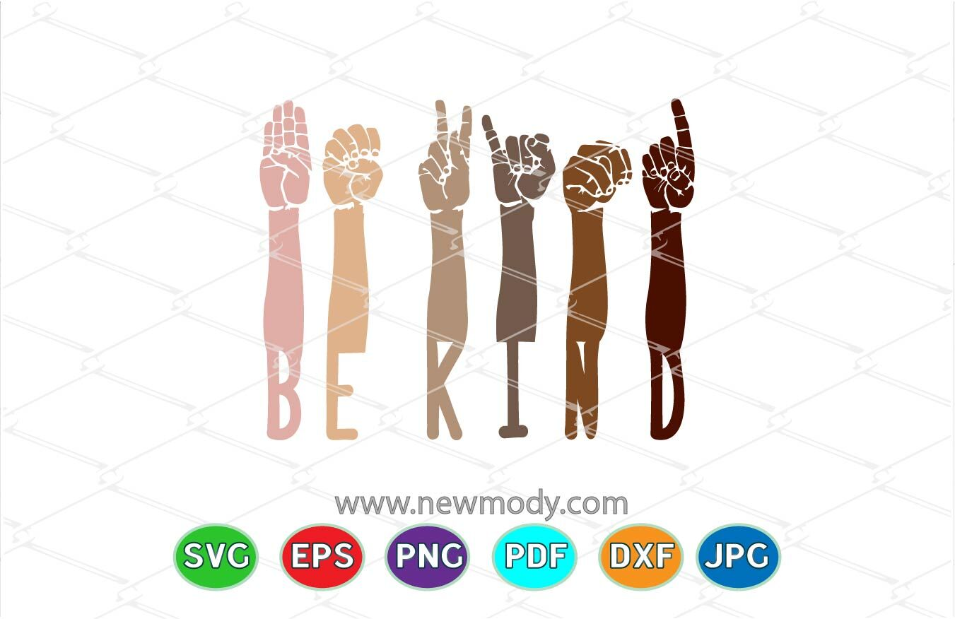 Be Kind Sign Language Svg Hands Raised Togther With Different Skin C By Amittaart Thehungryjpeg Com