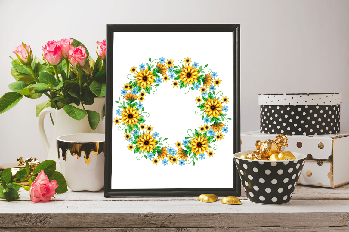Geometric Sunflower Floral Frames clipart By Magic world ...
