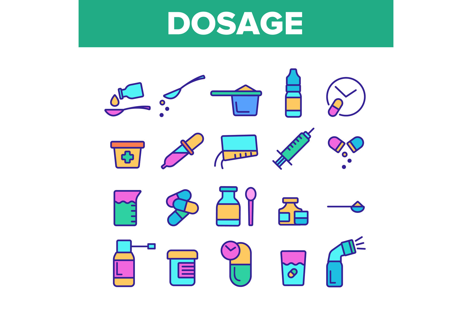 color dosage dosing drugs vector linear icons set by vectorwin thehungryjpeg com the hungry jpeg